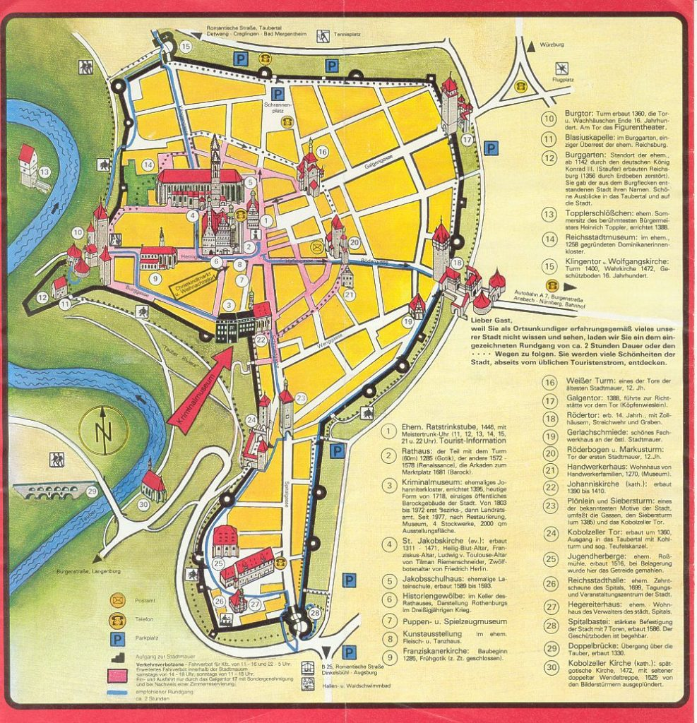 Rothenburg mapa turístico