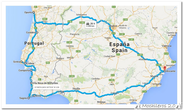 Mapa ruta por Portugal