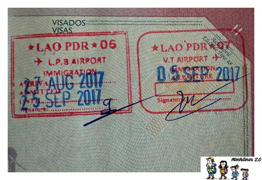 sellos entrada salida laos