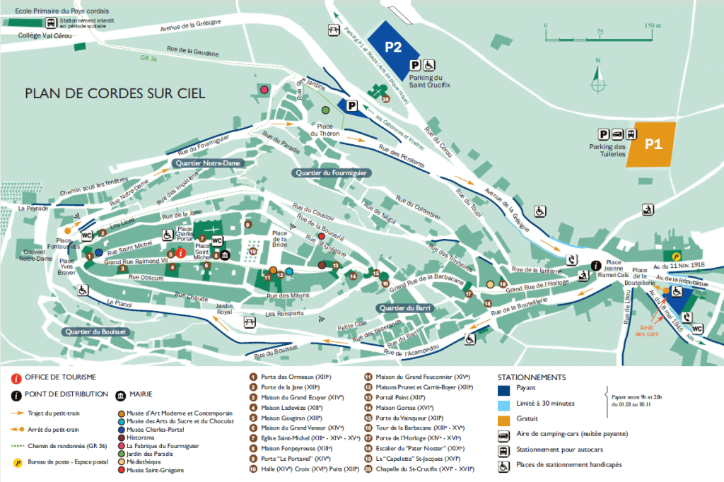 mapa cordes plan de ville