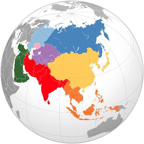 mapa regiones asia