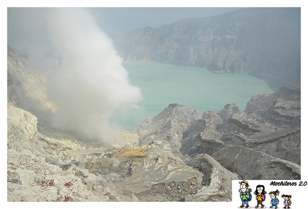Subida al cráter del volcan Ijen y su lago ácido de color turquesa