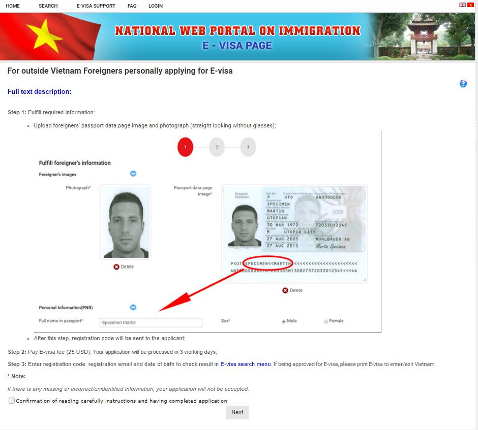 visado online vietnam