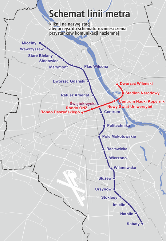 mapa metro varsovia