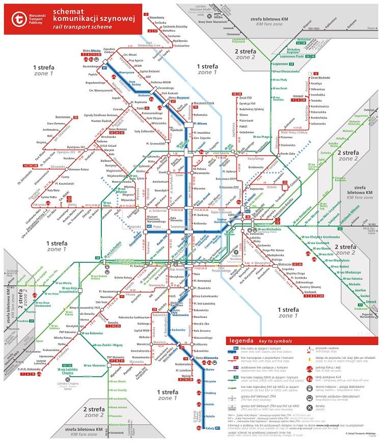 mapa transporte varsovia