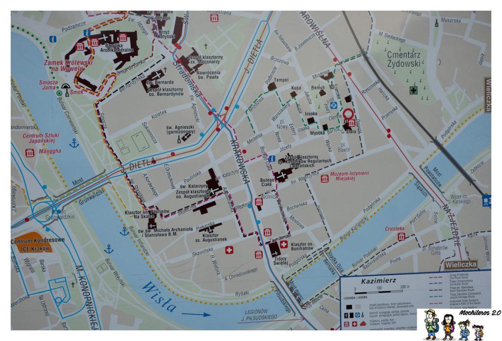 mapa barrio judio cracovia
