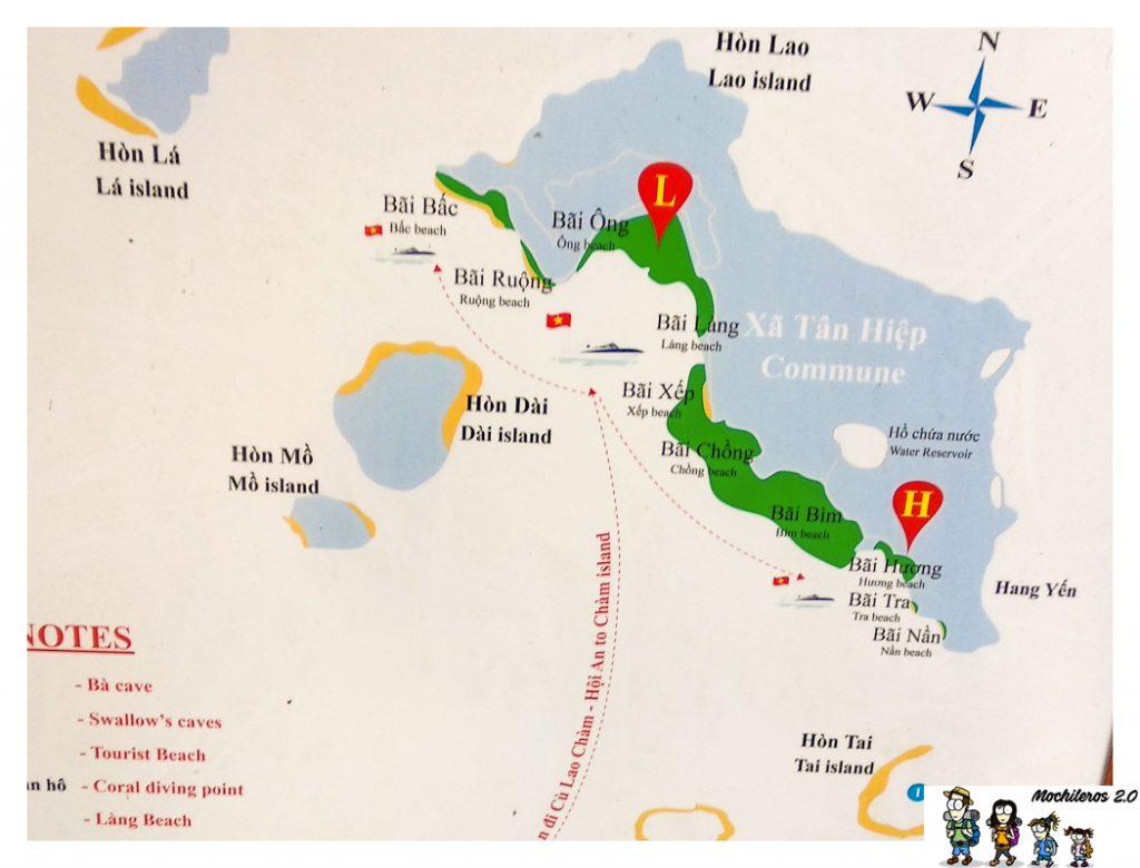 mapa playas islas cham
