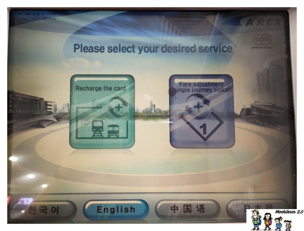 recarga tarjeta transporte corea