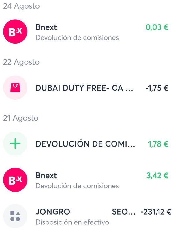 bnext devolucion comisiones