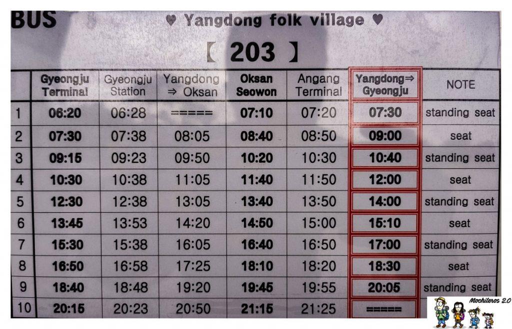 horario bus 203 yangdong