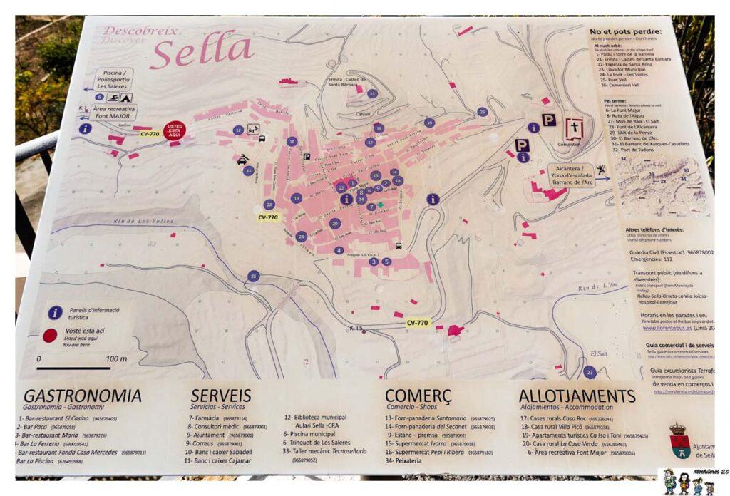 Mapa con puntos de interés de Sella