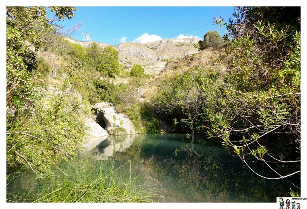 Una de los primeros remansos de agua que encontramos