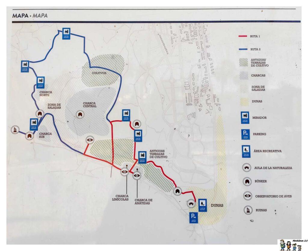 Mapa con las dos rutas del Clot