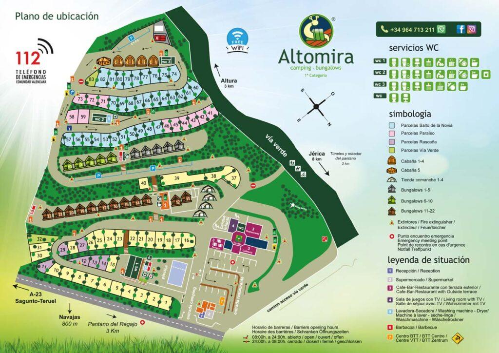 Plano del Camping Altomira