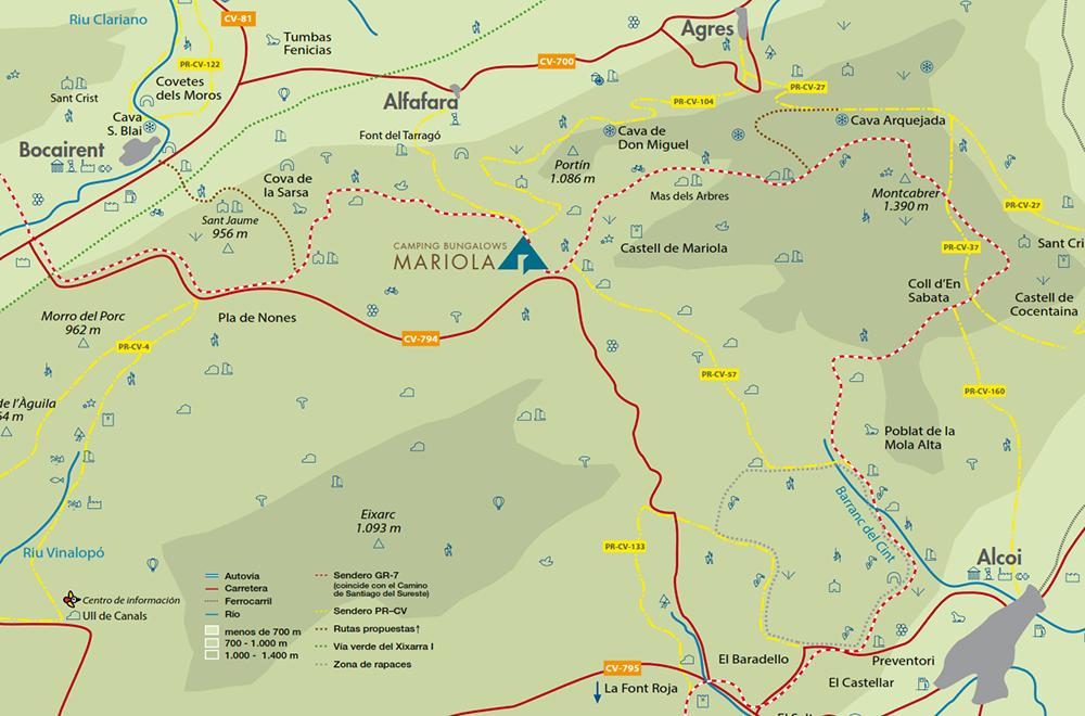 Mapa Sierra de Mariola