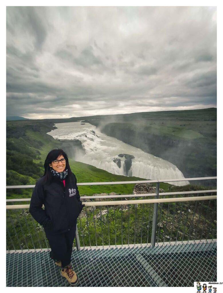 Cascada Gullfoss desde mirador superior