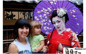 Gala impresionada por una Geisha en Kioto